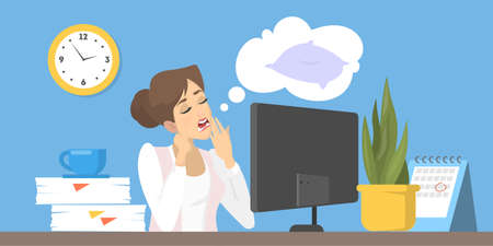 Tired character at work in office. Flat vector illustration