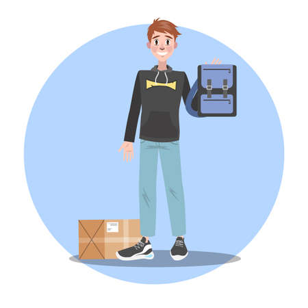 Happy man with bag from the online shop Illustration