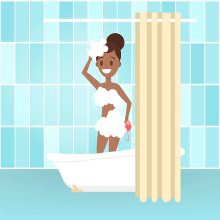 Young woman take shower in the bathroom. Female character standing under the water behind curtain. Everyday routine and hygiene. Isolated flat vector illustration