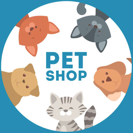 Pet shop or store design with cat and dog. Stock Illustratie
