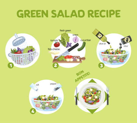 Green salad recipe for vegetarian. Healthy ingredient for tasty food. Cucumber and olive oil, tomato and cheese. Fresh vegetable meal. Isolated flat vector illustration