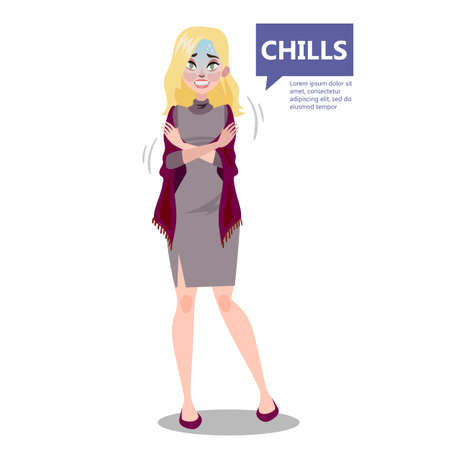 Woman with a chill. Symptom of disease