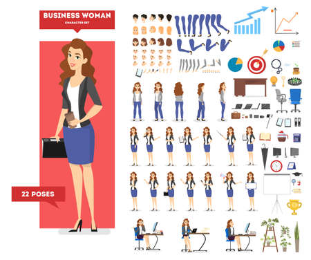 Businesswoman character in suit set for animation with various views, hairstyle, emotion, pose and gesture. Different office equipment. Isolated flat vector illustration Ilustração