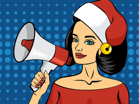 Pop art woman talking using red megaphone