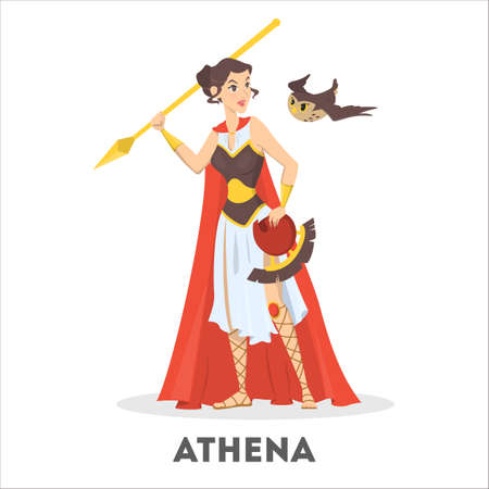 Athena greek goddess from ancient mythology  vector illustration Çizim