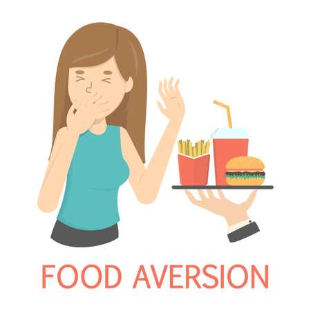 Frau mit Nahrungsmittelabneigung oder Essstörung. Frau lehnt Fastfood ab. Symptom einer Krankheit oder Schwangerschaft. Ungesunde Ernährung. Isolierte flache Vektorillustration