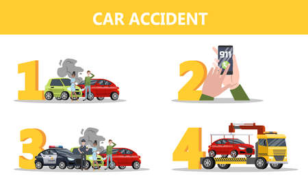 What to do after car accident instruction. Call 911 and wait for police. Automobile damage and tow truck. Isolated flat vector illustration Foto de archivo - 127688384