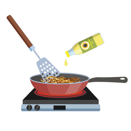 Fry vegetable in frying pan. Cooking healthy tasty lunch or dinner. Isolated flat vector illustration Illustration