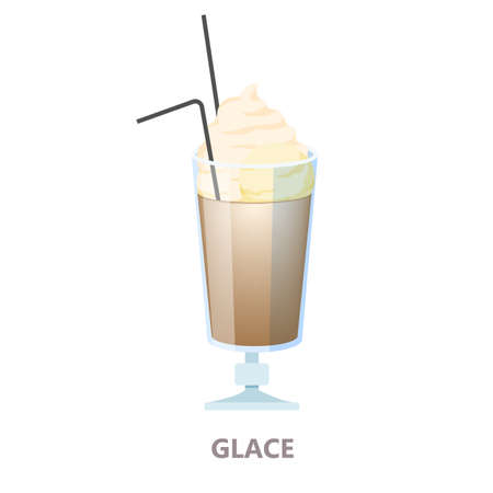 Glass of glace coffee. Brown drink for breakfast with cream. Aroma beverage with milk. Flat vector illustration Stock Illustratie
