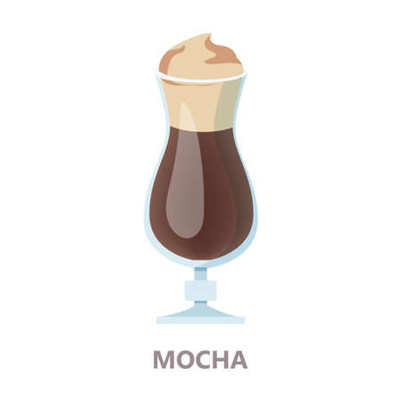 Glass of mocha coffee. Brown drink for breakfast with cream. Aroma beverage with milk. Flat vector illustration