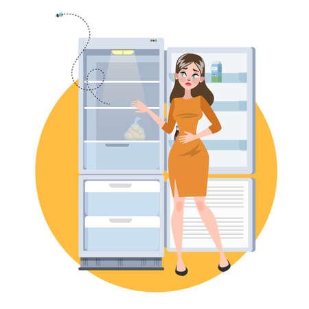 Femme debout au réfrigérateur vide ouvert. Triste adulte affamé sans nourriture. Illustration vectorielle en style cartoon