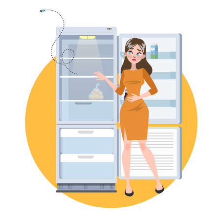 Woman standing at opened empty fridge. Sad hungry adult without food. Vector illustration in cartoon style
