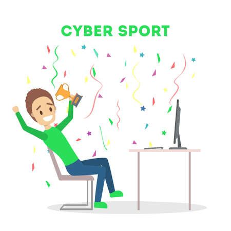 Cybersport player or gamer sitting at computer pc monitor with trophy cup. Playing game in internet. Online match. Isolated flat vector illustration
