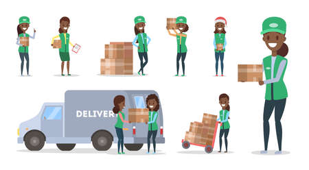 Fast delivery service set. Female courier in uniform with box from the truck. Logistic concept. Vector illustration in cartoon style Illustration
