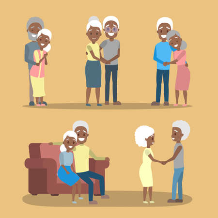 Old couple set. Cute elderly african american character happy together. Grandmother and grandfather in love. Isolated flat vector illustration