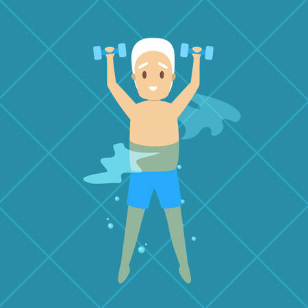 Old man doing exercise in swimming pool