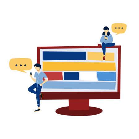 People work on the computer. Idea of web design Vector Illustratie