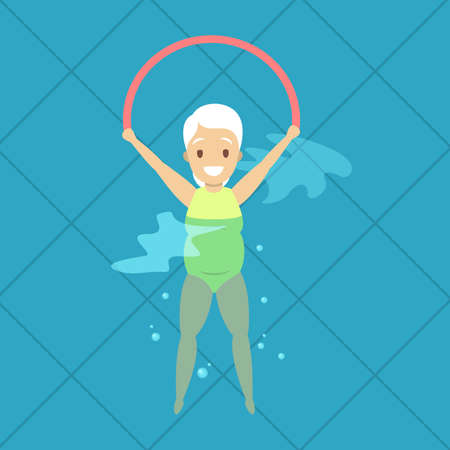 Old woman doing exercise in swimming pool