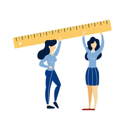 Women holding big ruler in the hands