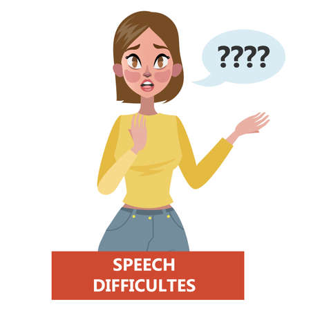 Sign of a stroke infographic. Woman with speech problem. Warning state of health. Idea of healthcare and emergency treatment. Flat vector illustration Illusztráció