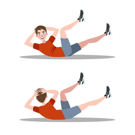Man doing crunches in the gym. Belly burn workout. Guy make exercise. ABS workout. Healthy and active lifestyle. Isolated vector illustration Ilustração