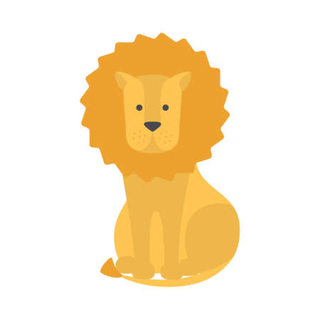 Lion safari animal in funny style. Wildlife king cat. Big animal with golden fur. Isolated flat vector illustration