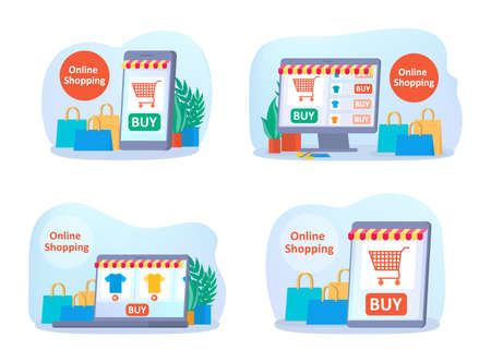 Online shopping on website set. Buy clothes online. E-commerce and delivery concept. Order goods and get them fast and easy. Isolated vector illustration