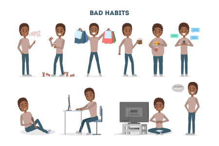 Man with a bad habits set. Alcohol and coffee addiction, eating junk food and gambling. Unhealthy lifestyle and danger for life. Vector flat illustration Illustration