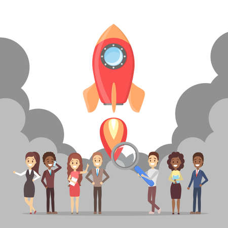 Rocket launch as a metaphor of startup. Business development concept. Entrepreneurship concept. People achieve success. Flat vector illustration
