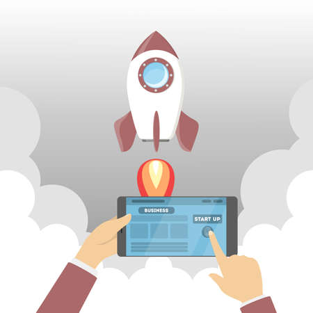 Rocket launch as a metaphor of startup. Business development concept. Hand pushing button on tablet computer. Flat vector illustration