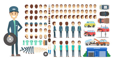 Mechanic male character in uniform set or kit for animation with various views, hairstyle, emotion, pose and gesture. Different equipment for car repair. Isolated flat vector illustration