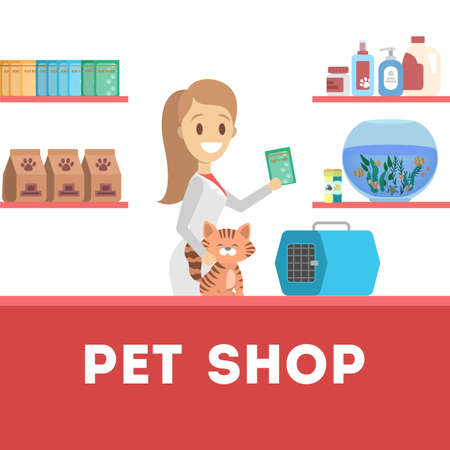 Pet shop counter interior with female worker seller. Food and toy for domestic animal in the store. Dog and cat care. Isolated flat vector illustration