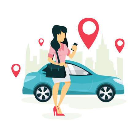 Woman book a taxi by a app on the mobile phone. Transportation service online. Travel concept. Isolated flat vector illustration Standard-Bild - 112047259