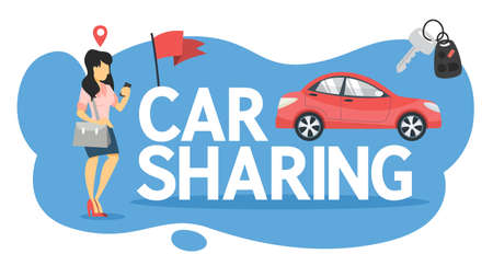 Car sharing concept. Woman book a car by a app on the mobile phone. Transportation service online. Travel concept. Isolated flat vector illustration 일러스트