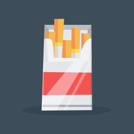 Open box with cigarette inside. Tobacco pack. Bad addiction concept. Isolated flat vector illustration Illustration