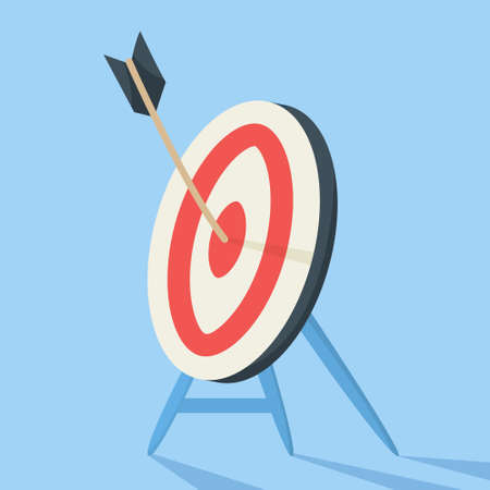 Wooden arrow on a target as a metaphor of achievement. Idea of growth and leadership. Flat vector illustration