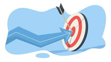 Wooden arrow on a target as a metaphor of achievement. Idea of growth and leadership. Flat vector illustration Stock Vector - 127688454