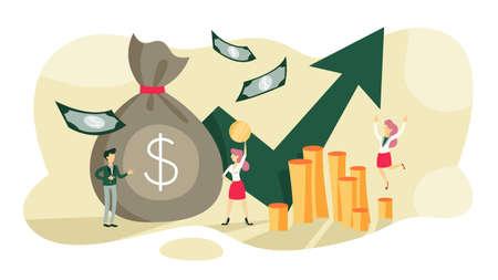Concepto de crecimiento de las finanzas empresariales. Idea de aumento de dinero. Inversión e ingresos. Beneficio presupuestario. Ilustración vectorial plana