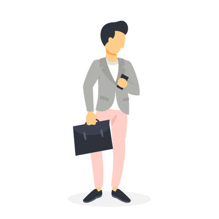 Businessman in suit holding mobile phone in hand and chat or talk. Wireless communication concept. Isolated vector illustration in cartoon style