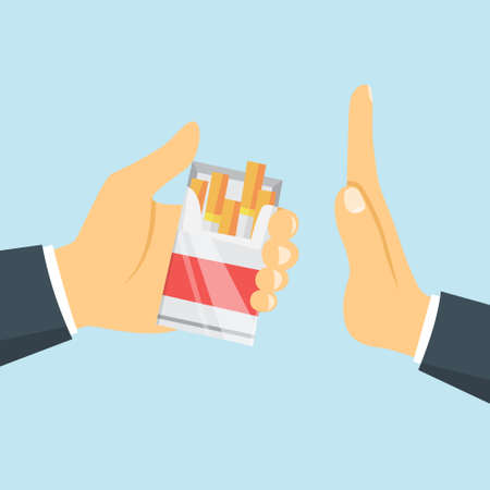 Stop smoking concept. Man hand refuse cigarette from the box. Quit bad habit and reject tobacco offer. Vector flat illustration Ilustracja