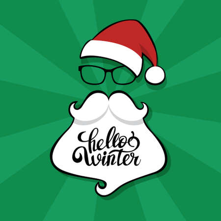Santa Claus mask with red hat, moustache and white beard on pop art background. Element of christmas costume. Flat vector illustration