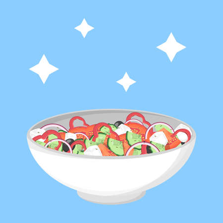 Greek salad in a bowl. Organic healthy food. Cucumber and tomato, feta cheese and pepper. Isolated flat vector illustration Ilustracja