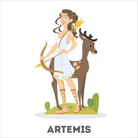 Artemis greek goddess from ancient mythology. Female character Фото со стока - 112392126