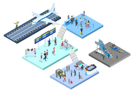 Airport with passenger set. Check-in and security, waiting hall and registration. People with passport look at schedule. Travel and tourist concept. Isolated vector isometric illustration