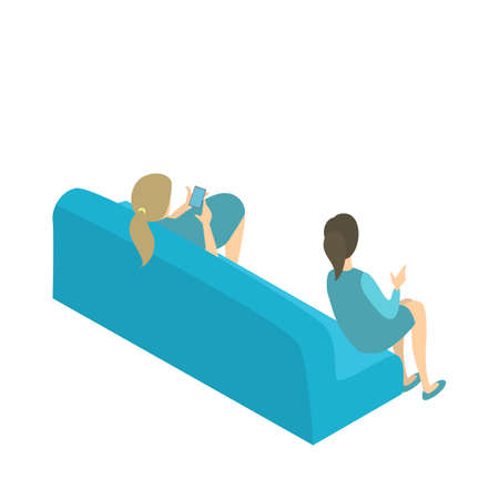 Doctor veterinarian having break sitting on the couch. Hospital or veterinary clinic. Health treatment. Isolated isometric vector illustration