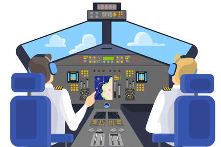 Pilot in cockpit sitting. Control panel in airplane