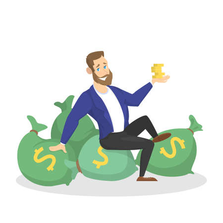 Businessman with money. Happy successfull man sitting around bag with money banknotes. Financial well-being. Isolated vector illustration in cartoon style Illusztráció