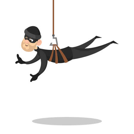 Thief or burglar in black clothes and mask. Crime character stealing something. Security and safety danger concept. Isolated vector illustration in cartoon style