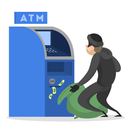 Thief or burglar stealing money from ATM. Man in the mask with money. Criminal character. Isolated vector illustration in cartoon style