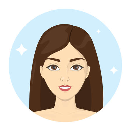 Beautiful woman portrait with long hair. Brunette female character with makeup. Idea of fashion lifestyle and glamour. Isolated vector illustration